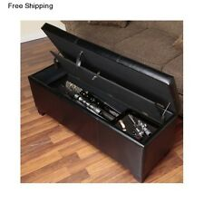 Gun Storage Bench Seat Concealment Furniture Safe Ottoman Cabinet Chest Rifle