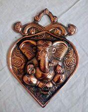 Wall Hanging Lord Ganesha Statue Leaf Ganesh Copper Metal Sculpture Panel US