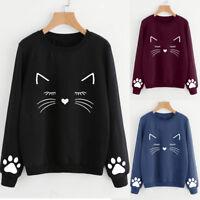 Women Autumn Winter Cat Sweater Round Neck Long Sleeve Regular Casual Blouse Top