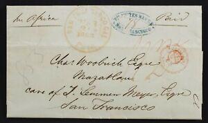 London to Mazatlan Mexico via San Francisco FORWARDER 1863 Transatlantic Br Pkt