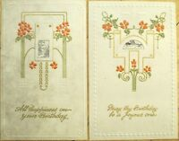 Pair of 1920 Art Deco Birthday Greeting Cards- Embossed