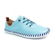 Lunar Fle 030 St Ives Ladies Pale Blue Leather Plimsoll Shoes
