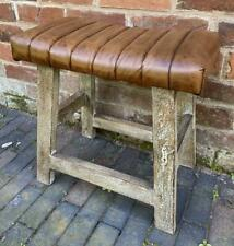 Brown Leather Occasional Stool -  Wooden Legs - Milking Stool style