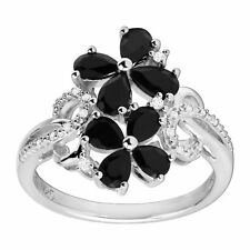 1 1/4 ct Natural Onyx Flower Ring with Diamonds in Sterling Silver
