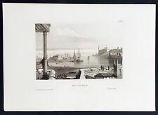 1855 Herrmann Meyer Antique Print of Havana Harbor & Fort La Cabana Cuba - 33738