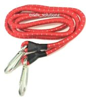 "60"" LONG 1 ELASTIC HEAVY DUTY RED BUNGEE CORD KARABINER STRAP 2 CARABINER CLIPS"