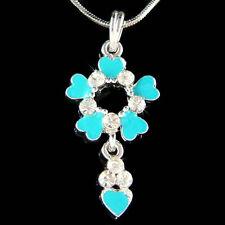 w Swarovski Crystal Enamel Paint Turquoise Flower Floral Heart Charm Necklace