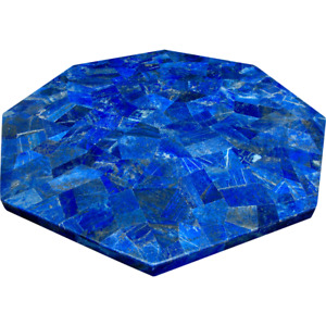 Lapis Lazuli Stones Inlaid Marble End Table Top Blue Coffee Table Size 12 Inches