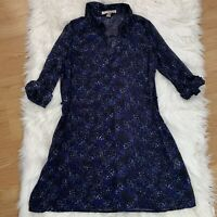 Forever 21 Dress L Black Blue Floral Button Up Shirt Dress Chiffon Semi Sheer