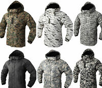 New South Play Military Patterned Waterproof Outerwear Hood Double Closed Jacket