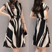 New Women Summer Business Work Dress Belt Short Sleeve Knee Length A-Line Dress