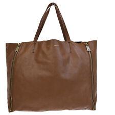 Authentic CELINE Horizontal Cabas Gusset Shoulder Tote Bag Leather Brown 62Q055