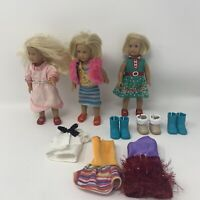 "AMERICAN GIRL 6"" mini DOLL LOT of 3 Dolls With Extra Cloths And Shoes"