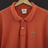 Lacoste Mens Polo Shirt Size 9 Short Sleeve Cotton Orange