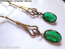 Art Deco Art Nouveau earrings vintage green drop 1920s style very long