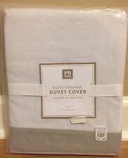 NEW Pottery Barn Teen Suite Organic TWIN Duvet GRAY WHITE