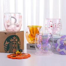 NEW Starbucks Cat's paw tail Double Glass Purple Coffee Mug  Cups LimitedEdition