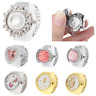 Women Dial Quartz Analog Finger Ring Watch Pocket Elastic Gift Creative Steel