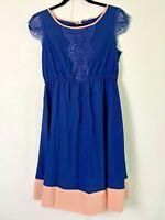 Kimi + Kai Maternity Navy Lace Cap Sleeve Dress Size Small NWOT 7559