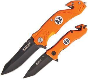 MARBLES PAIR EMT RESCUE Linerlock Folding Emergency knife/knives (MR3567)NIB