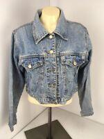 VTG 90s ESPRIT Denim distressed Crop Jacket Jean SPICE GIRLS Sz M