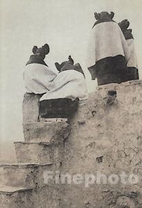 1900/72 EDWARD CURTIS North American Indian Hopi Girls Hair Roof Walpi Photo Art