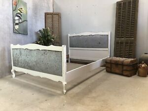 Vintage French Upholstered Double size bed/ Painted French bed shabby chic style