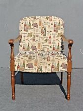 Vintage WINE ACCENT ARM CHAIR Mid-Century w/ Wine & Glass Fabric