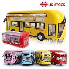 1:50 Sound Light Metal Double-Decker Tour London City Bus Toys Pull Back Car Kid