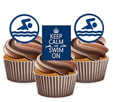 PRECUT Swimming Swimmer - 12 Edible Cupcake Toppers Birthday Decorations sports