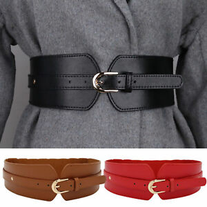 Ladies Girls Waistband Elasticated Wide Retro Fashion Faux Leather Belts Corset