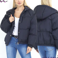 NEW WOMENS LADIES QUILTED WINTER COAT PUFFER FUR COLLAR HOODED UP JACKET PARKA