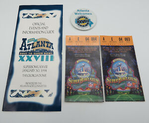 SUPER BOWL XXVIII 28 1994 TICKET STUBS PINBACK BUTTON EVENTS GUIDE - ESTATE FIND