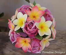 Silk Flower Wedding Flower Girl Posy - Tropical - Roses and Frangipani - Bouquet