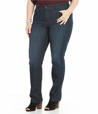 NEW $134 NYDJ Plus Marilyn Straight Leg Embellished Back-Pocket Jeans - 24W