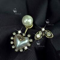 Vintage copper heart stud crystal pearl buzzy bee unbalanced ear jacket earrings