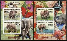 Burundi 2014 MNH Fauna Elephants Loxodonta 2x 2v Deluxe M/S Wild Animals Stamps