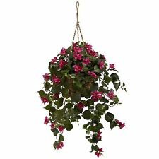NEW BOUGAINVILLEA SILK HANGING PLANT FAUX ARTIFICIAL PINK FLOWERS NEARLY NATURAL