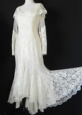 Vtg French Lace Dress Mel Aire Ivory Hi-Low Mermaid long Sleeve Pearl Size M