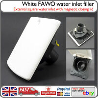 FAWO White External Square Water Inlet Filler Magnetic Lid - Motorhome Caravan