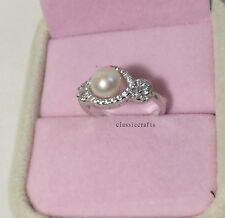 Genuine 6-7mm oblate Freshwater pearl CZ in Silver Ring 6-9 range adjustable