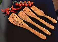 Olive Wood Utensils Handmade- Lot of 4 different Spatulas handcrafted in Albania