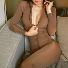 Women Sexy Bodysuit Sheer Lingerie with Zipper Thin Long Sleeve One-piece Pants