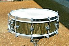 Custom 5x14 oak stave snare drum. Black / gold lacquer.  Excellent