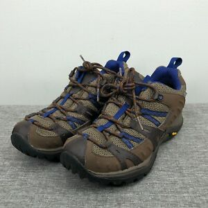 Merrell Shoes Womens 7.5 Brown Blue Vibram Hiking Boots Trail Sneakers