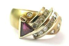 Trillion Ruby & Diamond Ring 14Kt Yellow Gold 1.80Ct H-VS2 SIZEABLE