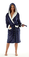 Women's Hooded Robe with Sherpa Trim foil print Navy-Star or Grey-Spot