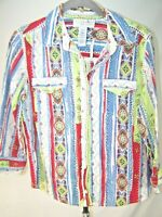 Sag Harbor Small Womens Long Sleeve Button Front Red White Paisley Top Blouse