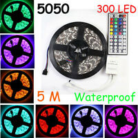 5M 5050 SMD RGB Waterproof Xmas 300 LED Strip Light +44Key IR Remote Controller