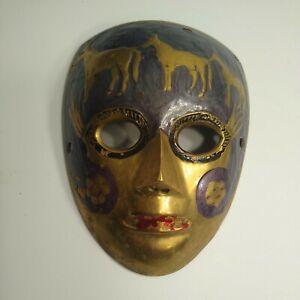 "Vintage Solid Brass Venetian Mask, Hand Painted flowers& Leaves, Length 6"""